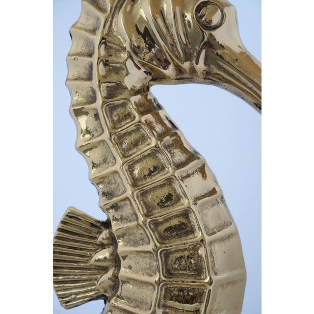 Metal Vintage Seahorse Figure Doorstop in Polished Brass For Sale - Image 7 of 12