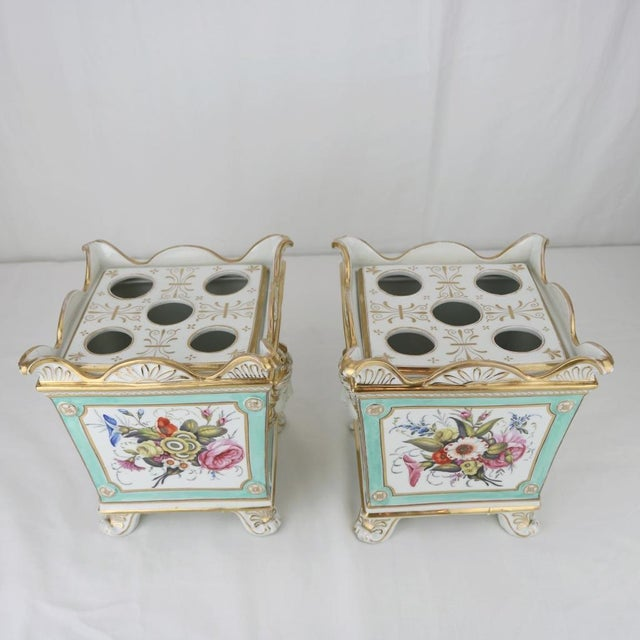 Cottage Henry Morris English Swansea Bough Pots - A Pair For Sale - Image 3 of 10