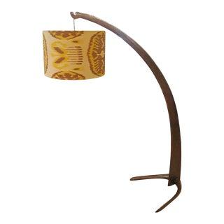 "Italian Walnut ""Tusk"" Floor Lamp, 1940s For Sale"
