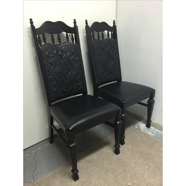 Black Mexican Leather Chairs - A Pair - Image 2 of 6