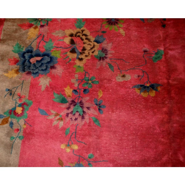 1920s 1920s Antique Art Deco Chinese Rug - 8′10″ × 11′8″ For Sale - Image 5 of 10