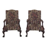 Image of Henredon Natchez Collection Chippendale Mahogany Arm Chairs- A Pair For Sale