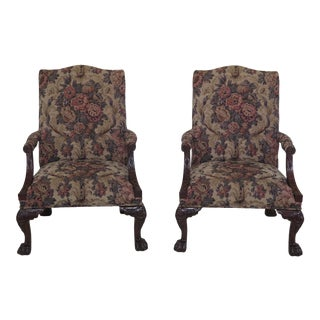 Henredon Natchez Collection Chippendale Mahogany Arm Chairs- A Pair For Sale