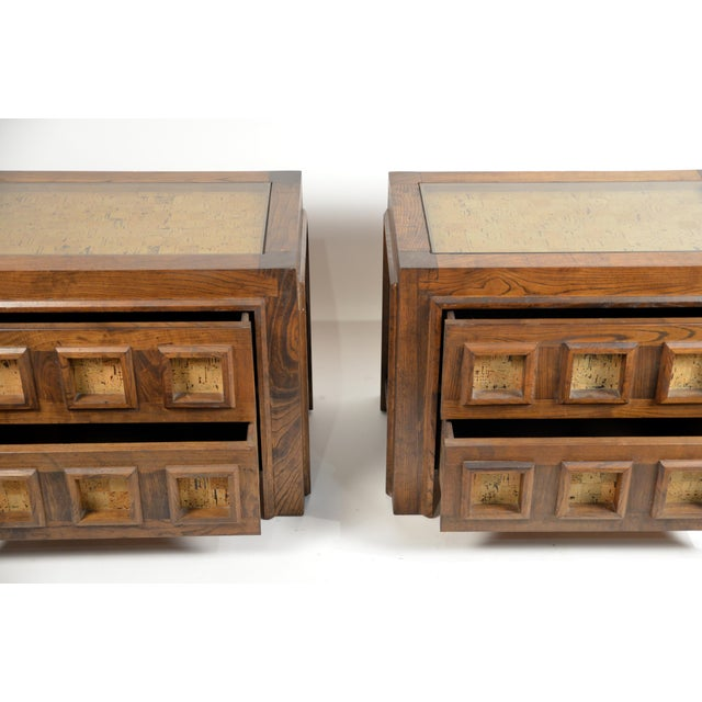 Brutalist Stained Oak and Cork Nightstands - a Pair For Sale - Image 4 of 8