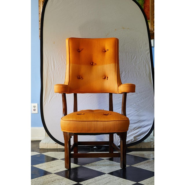 Early 20th Century Mahogany Arm Chair in Vintage Orange Upholstery For Sale In Atlanta - Image 6 of 13