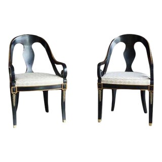 Late 20th Century Karges Neo Classic Dining Arm Chairs - a Pair For Sale