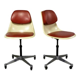 Eames Herman Miller Pscc-A-4 Pivoting Task Shell Chair Pair on Contract Base W/Casters For Sale