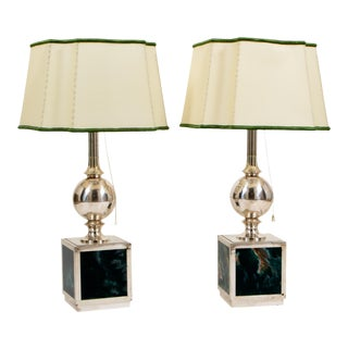 Vintage Green and Silver Marbled Enamel Lamps - a Pair For Sale