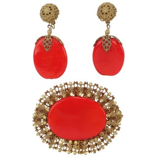 C.1950 Miriam Haskell Red Pate De Verre Earrings & Brooch Set For Sale