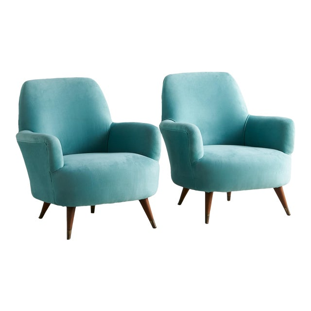 Pair of Italian Upholstered Lounge Chairs C.1960 For Sale