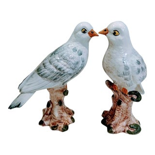Italian Ceramic Bird Figurines on a Perch Statues - a Pair