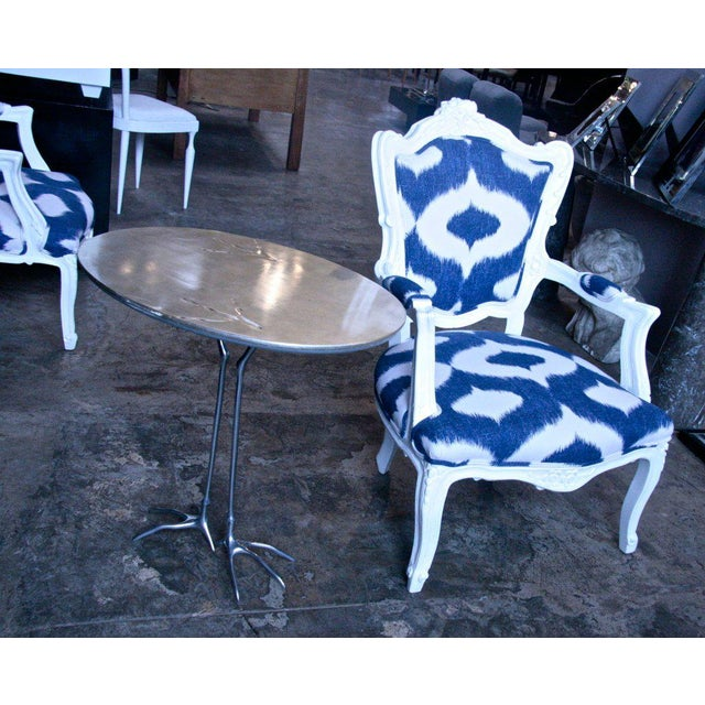 Blue Italian White Lacquered Armchairs For Sale - Image 8 of 9
