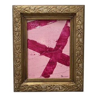 """1970s """"Pink Out Part II"""" Abstract Mixed-Media Painting, Framed For Sale"""