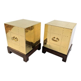 Sarreid Brass Side Tables - a Pair