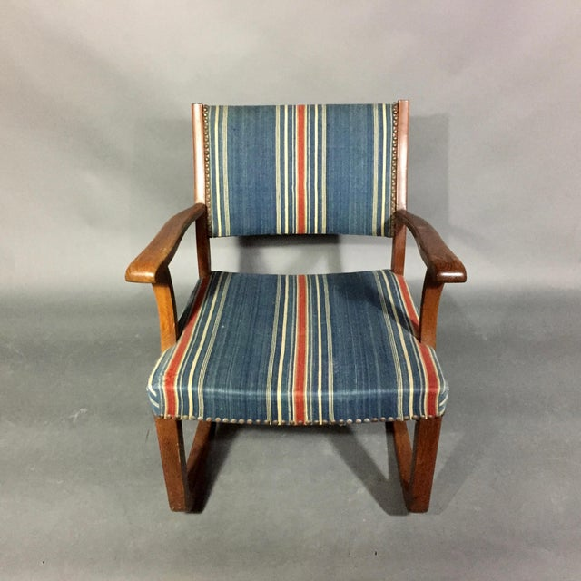 1940s Danish Rocking Chair, Oak and Wool Stripe For Sale In New York - Image 6 of 12