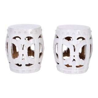 White Chinese Garden Seats - A Pair For Sale