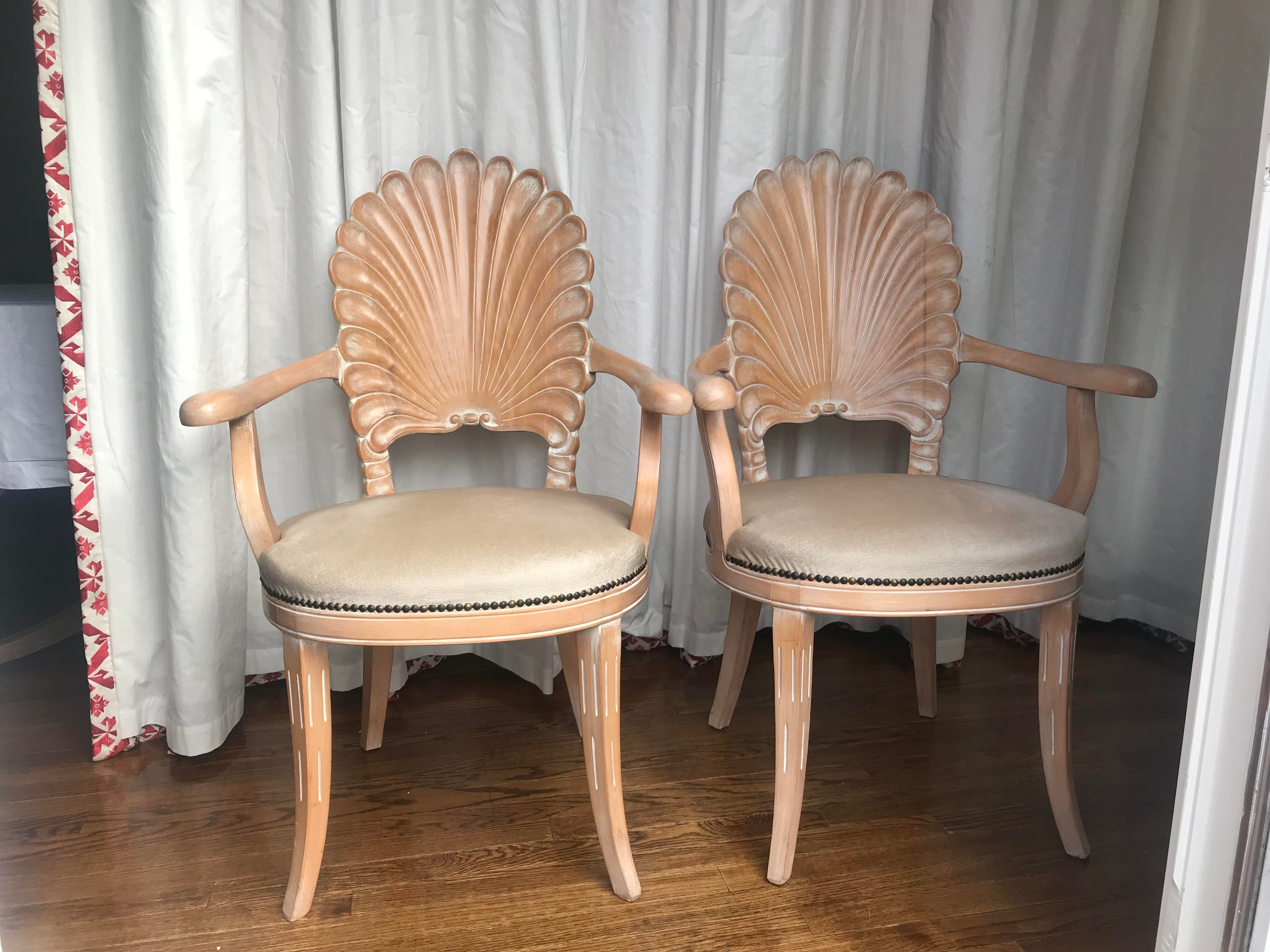 Vintage mid century carved shell back grotto arm chairs a pair