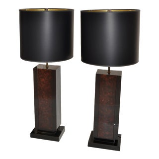 2 Maison Lancel Brass, Bronze & Black Glass French Mid-Century Modern Table Lamp For Sale