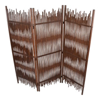 Mid-Century Modern Tall Solid Bamboo Wood Room Divider/Screen/Partition Italy For Sale