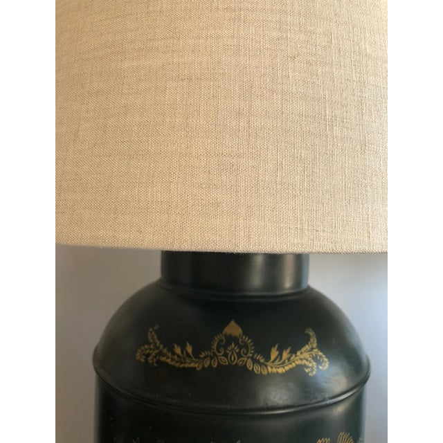 Chinese Style Dark Green Tole Tea Canister Lamps – a Pair For Sale In West Palm - Image 6 of 7