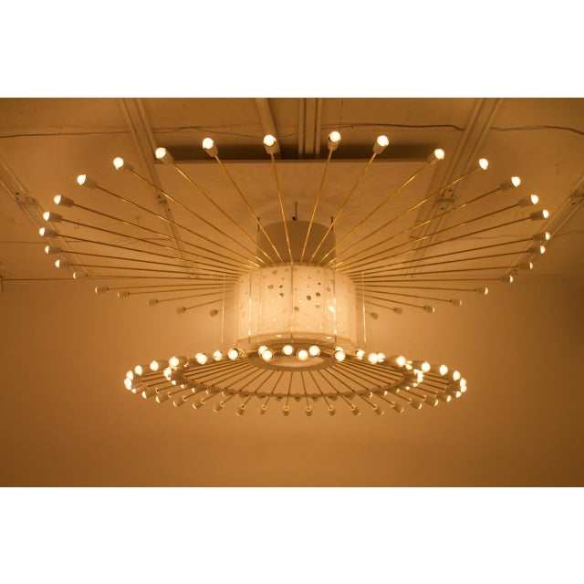 Gold Spectacular Giant Sputnik Ceiling Lamp With 132 Bulbs in Brass, Lucite & Metal, 1950s For Sale - Image 8 of 13