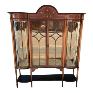 Antique Mahogany English Display Cabinet with Marquetry Inlay For Sale