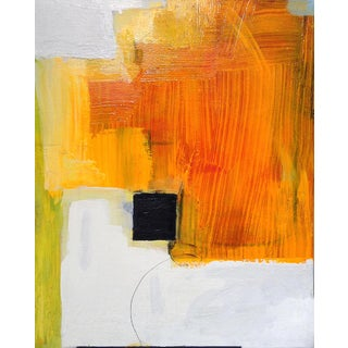Contemporary Abstract Minimal Colorful Canvas Painting - Painterly Orange, Black, Yellow, White For Sale