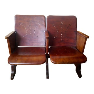 Vintage Mahogany 2-Seater Theater Seat