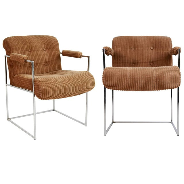 1970s Milo Baughman for Thayer Coggin Dining Armchairs - a Pair For Sale - Image 9 of 9