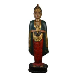 """62 """"Tall and Heavy Indonesian Old Wooden Statue For Sale"""