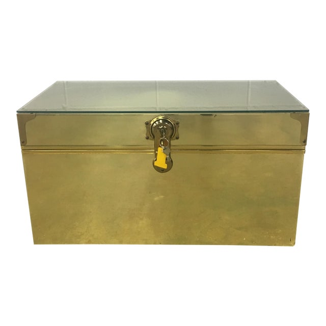 Dresher Cedar Lined Brass Trunk With Glass Top - Image 1 of 11