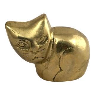 Vintage Mid-Century Modern Brass Cat Figurine For Sale