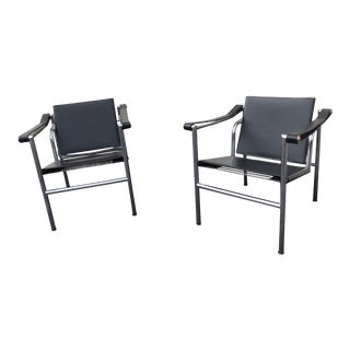 Le Corbusier Style Lc1 Basculant Black Leather and Chrome Sling Chairs - a Pair For Sale