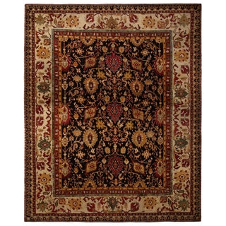 Antique Agra Red and Gold Wool Rug For Sale