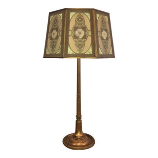 1920s Tiffany Studios New York Bronze Lamp With Original Shade For Sale
