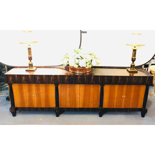 Palatial Six Door Macassar Sideboard Cabinet Ebonized Column and Feet Support For Sale - Image 4 of 13