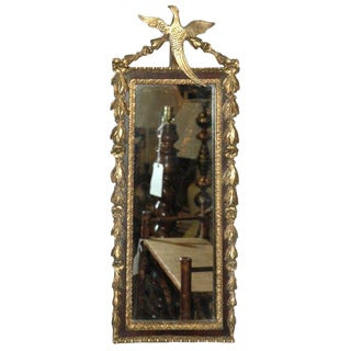 Gilded Mirror with Bird Decoration For Sale
