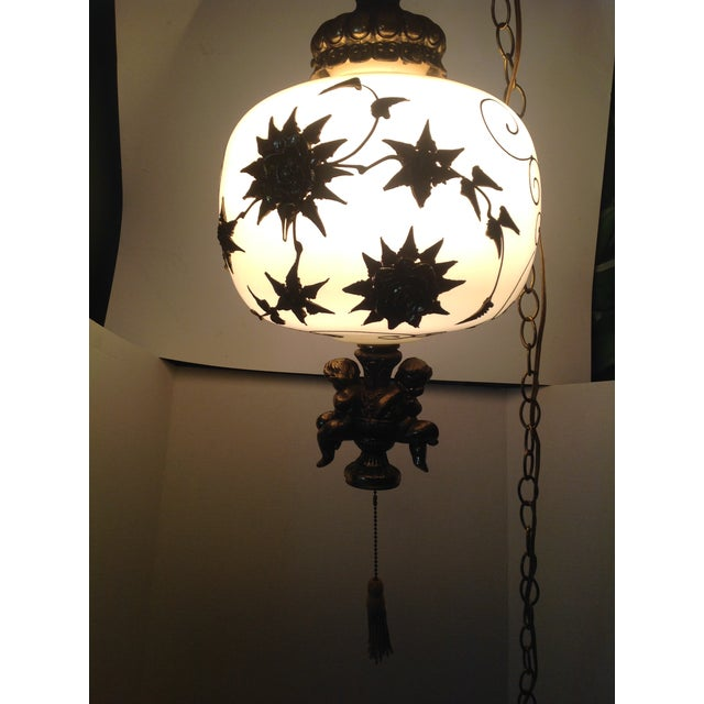 Glass Hollywood Regency Hanging Swag Lamp With Cherubs For Sale - Image 7 of 8