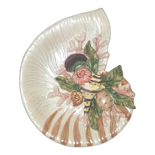 Vintage Fitz and Floyd Oceana Ceramic Nautilus Shell Dish For Sale