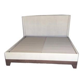 Artitalia Segreti Italian Walnut and Embossed Leather King Bed For Sale