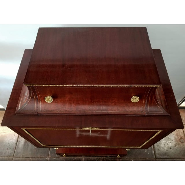 Neoclassical Empire / Biedermeier Style Lyre Form Secretary Desk in Mahogany With Gilt Dolphins For Sale - Image 3 of 13