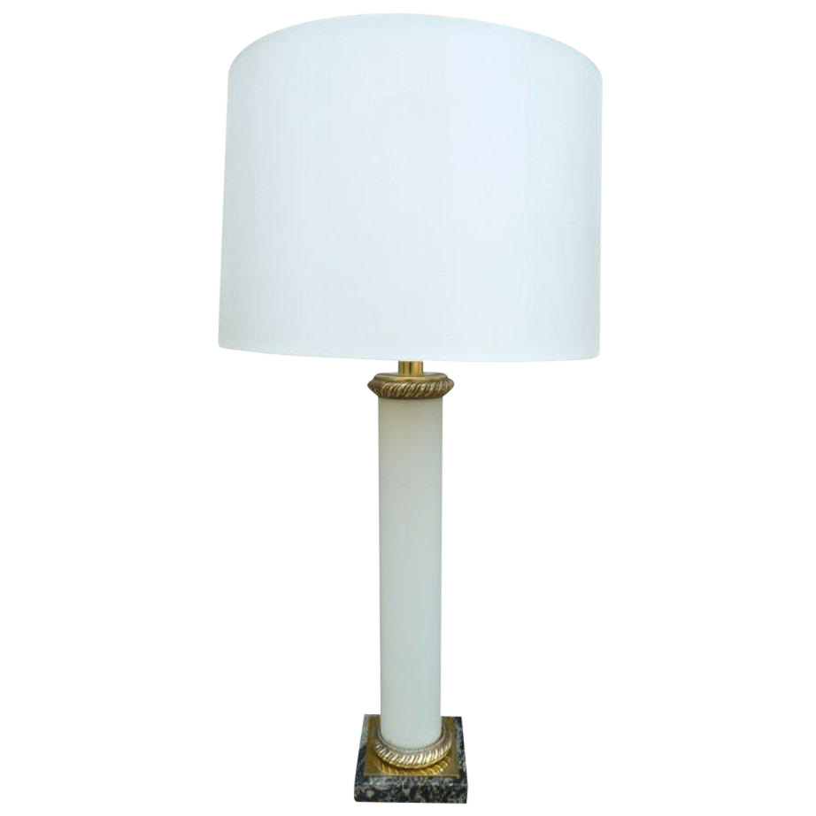 French Mid Century Tall White Opalin Glass And Bronze Table Lamp