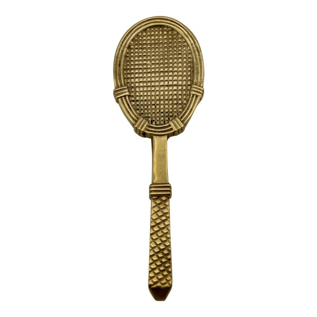 Vintage Solid Brass Tennis Racket Door Knocker For Sale