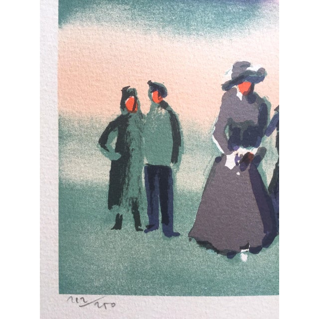 "Vintage Mid-Century Thomas Kruger Limited Edition Signed Lithograph Print "" the Beach "" For Sale In New York - Image 6 of 12"