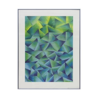 Geometric Pastel Drawing in Greens and Blues Signed Fotias '86 For Sale
