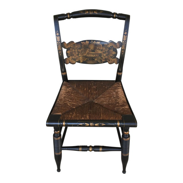 1940s L. Hitchcock Rush Bottom Bolster Turtle Back Side Chair For Sale