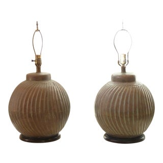 Worked Copper Urn Lamps - a Pair For Sale