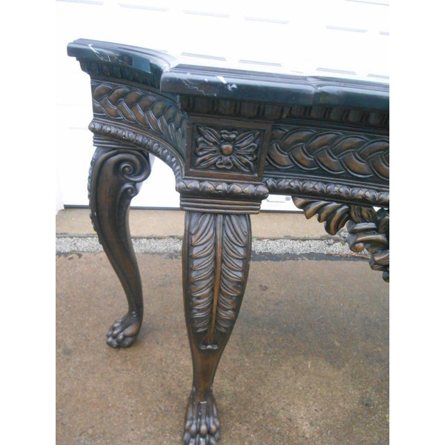 French Rococo Style Carved Wood & Marble Top Console Table - Image 7 of 8