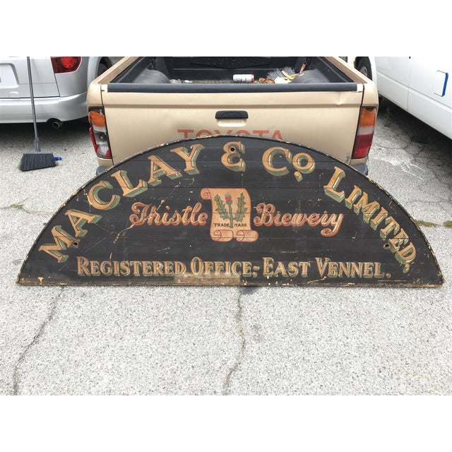 Absolutely incredible, antique hand-painted sign from the Maclay & Co. Limited Thistle Brewery of East Vennel, located in...