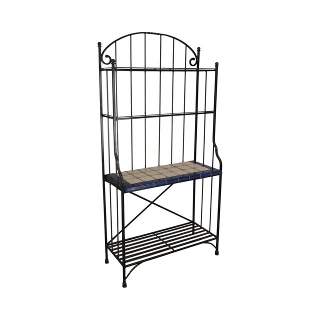 Quality Hand Forged Iron Bakers Rack With Tile Shelf For Sale